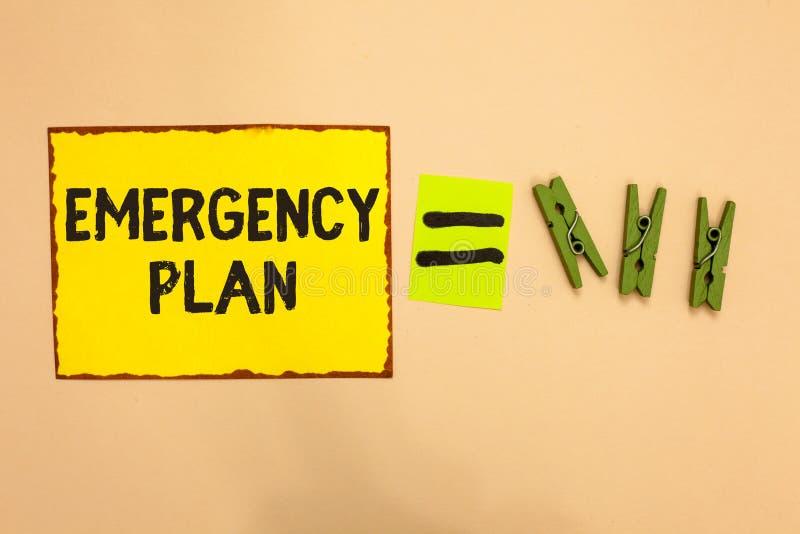 词文字文本紧急办法 做法的企业概念对主要的紧急事件的反应的是准备的黄色片断纸 库存例证