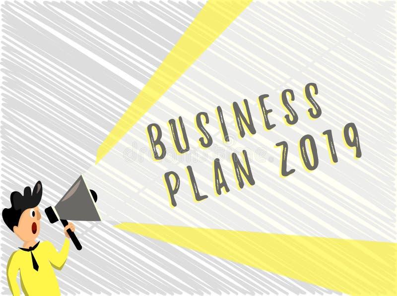 词文字文本经营计划2019年 富挑战性企业想法和目标的企业概念新年 库存例证