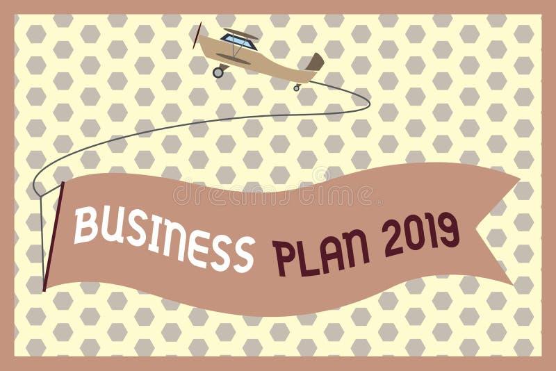 词文字文本经营计划2019年 富挑战性企业想法和目标的企业概念新年 向量例证