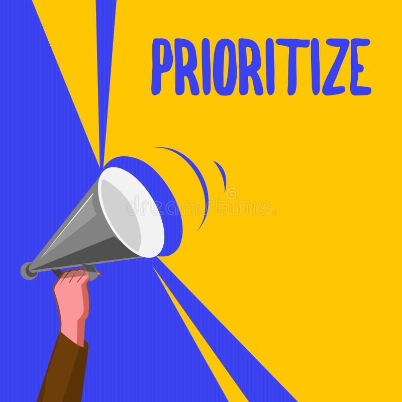 词文字文本给予优先 Organize指定或款待的企业概念某事作为是更加重要的 库存例证