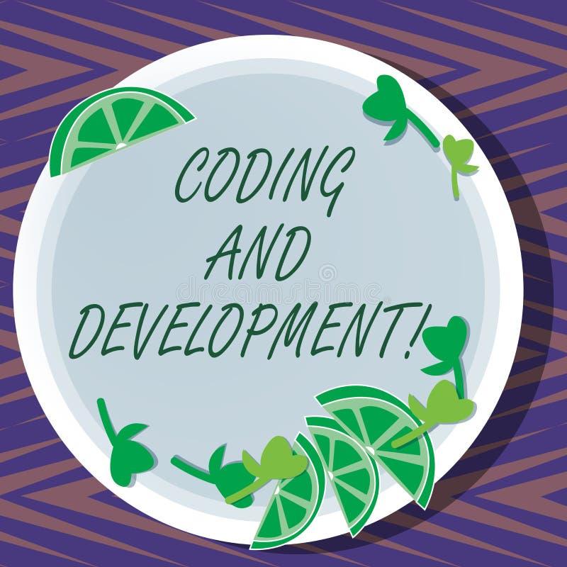 词文字文本编制程序和发展 为编程或创造软件或任何应用的企业概念 库存例证