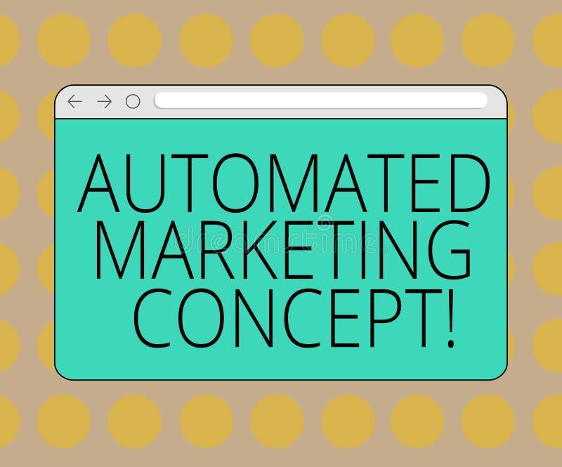 词文字文本自动化销售的概念 企业概念为自动化反复任务例如电子邮件显示器屏幕与 向量例证