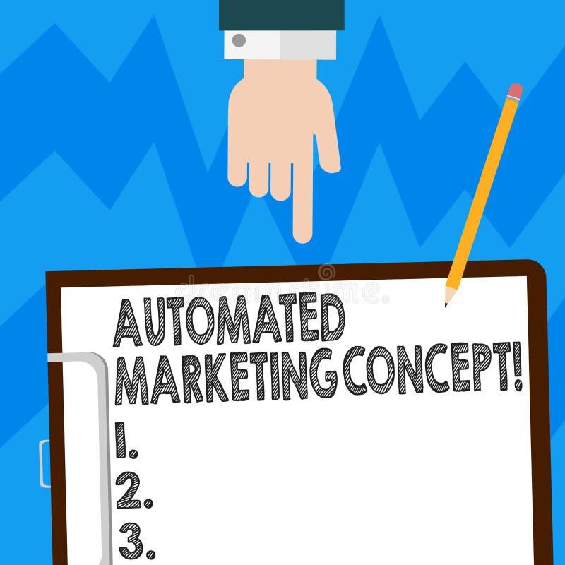 词文字文本自动化销售的概念 企业概念为自动化反复任务例如电子邮件胡分析 向量例证