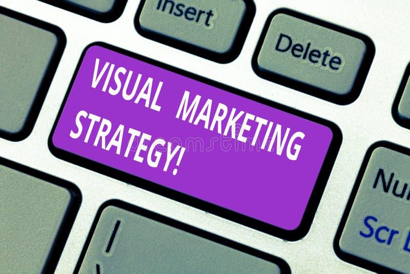 词文字文本视觉营销策略 连接的销售的消息的企业概念到图象键盘键意图里 免版税图库摄影