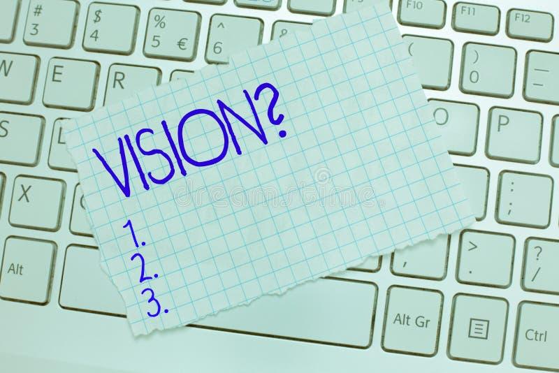 词文字文本视觉问题 的企业概念能看客观启发计划在未来 免版税库存照片