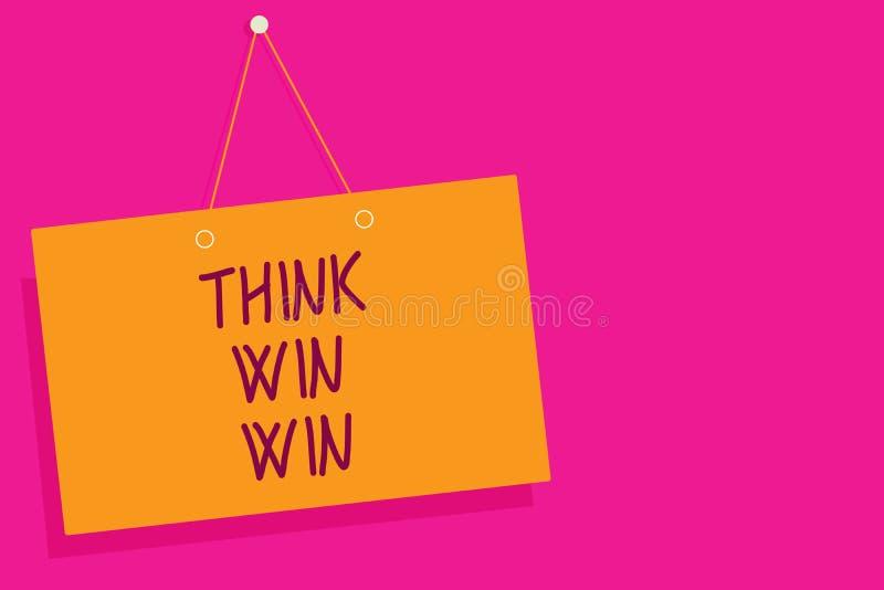 词文字文本认为双赢 经营战略竞争挑战方式的企业概念能是成功橙色委员会墙壁 向量例证
