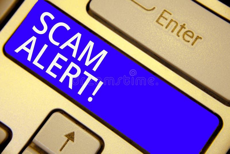 词文字文本诈欺戒备 警告的某人企业概念关于计划或欺骗通知任何异常的键盘蓝色关键Inte 向量例证