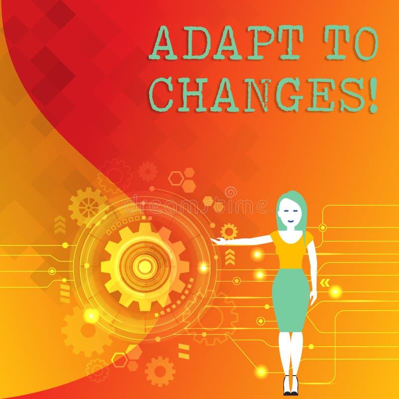 词文字文本适应变动 创新变动适应的企业概念与技术演变妇女 库存例证