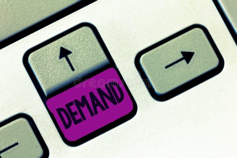 词文字文本需求 自权利被做的迫切和断然的请求的企业概念要求权威地 免版税图库摄影