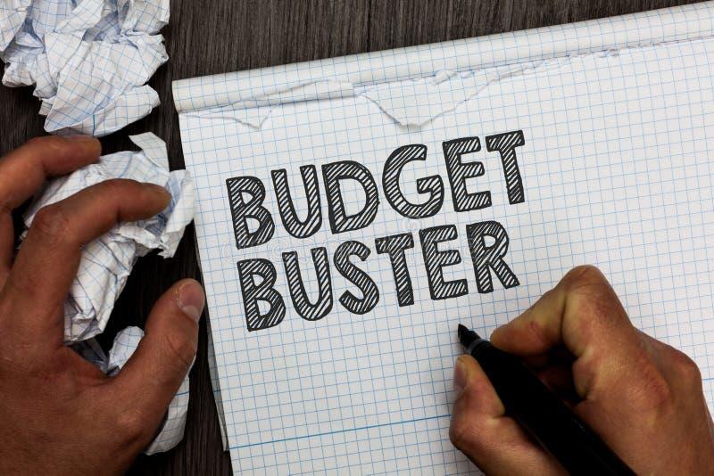 词文字文本预算钉头切断机 无忧无虑的消费的企业概念讲价过度花费人的多余的购买举行ma 免版税库存照片