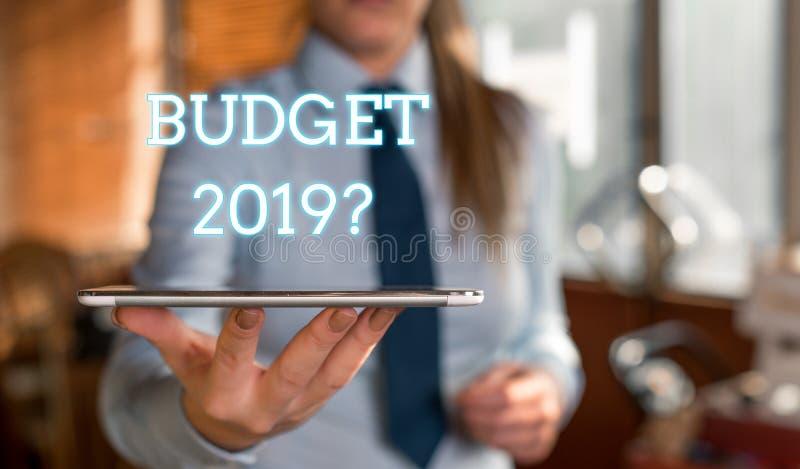 词文字文本预算2019问题 支出和收入的估计的企业概念为明年被弄脏 免版税库存照片