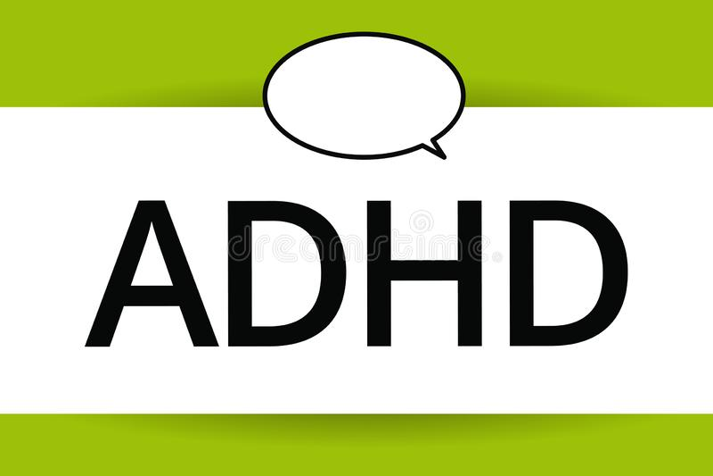 词文字文本Adhd 儿童活动过度的麻烦精神健康混乱的企业概念给予注意的 皇族释放例证