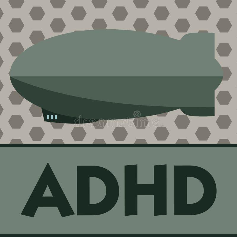 词文字文本Adhd 儿童活动过度的麻烦精神健康混乱的企业概念给予注意的 向量例证