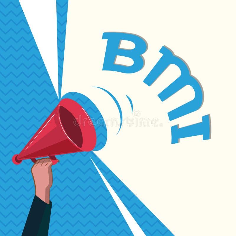 词文字文本Bmi 估计根据重量和高度的体脂肪水平方法的企业概念  库存例证