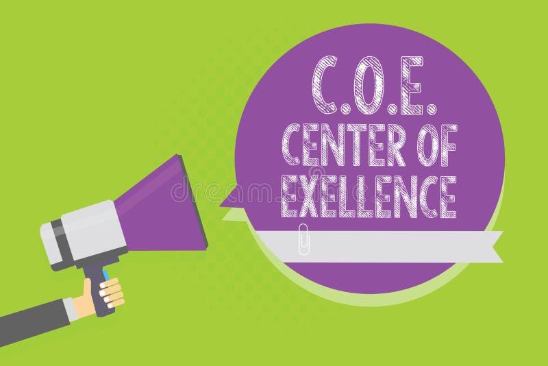 词文字文本C O E成就卓越中心 是的企业概念在您的位置的阿尔法领导达到举行megapho的人 向量例证