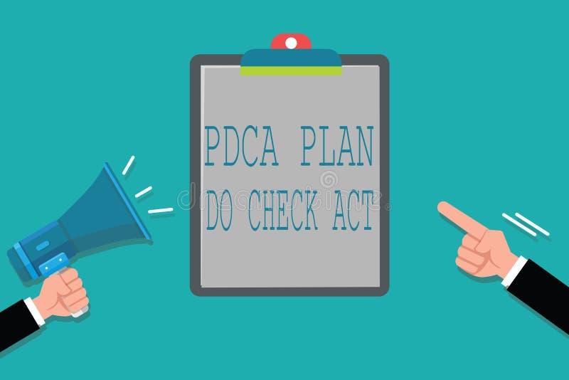 词文字文本Pdca计划做检查行动 Deming轮子的企业概念改进了在解决的问题的过程 向量例证