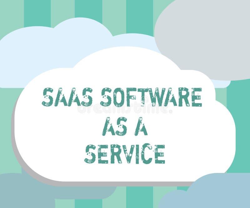 词文字文本Saas软件作为服务 企业概念为对云彩的使用根据在互联网的App 库存例证