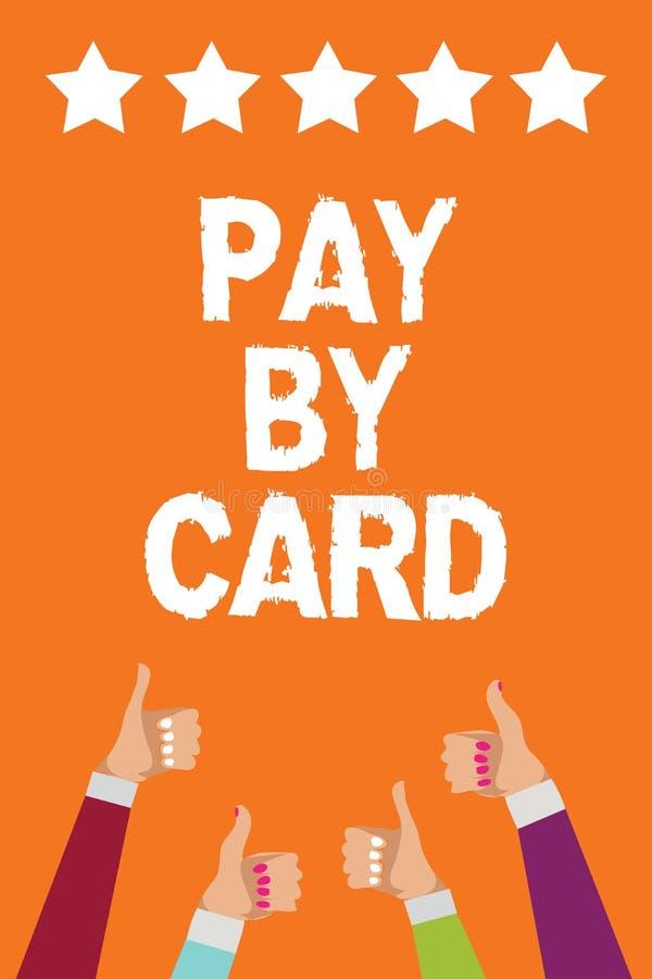 词文字由卡片的文本薪水 付款的企业概念在信用借方电子真正金钱购物人妇女递星期四 向量例证