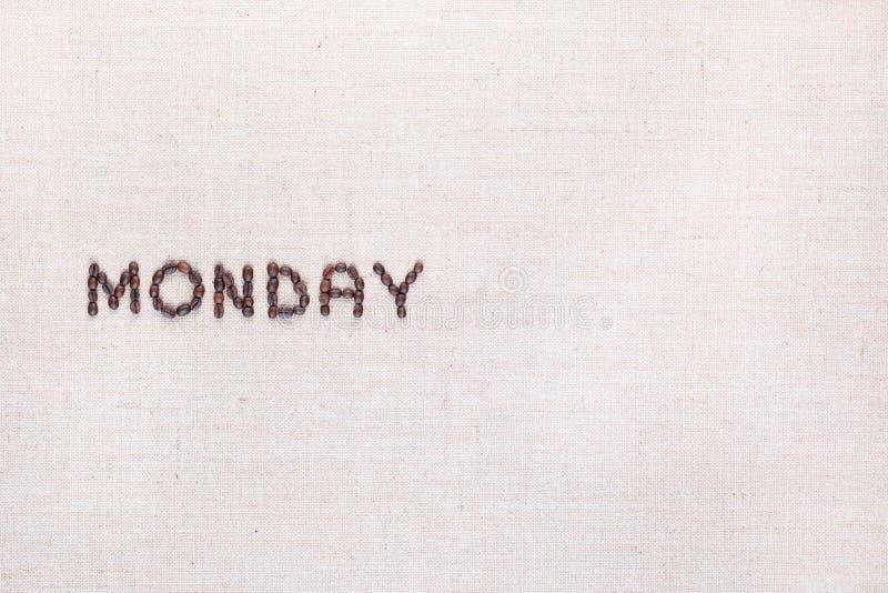 词星期一写与咖啡豆,被排列到左边 库存图片