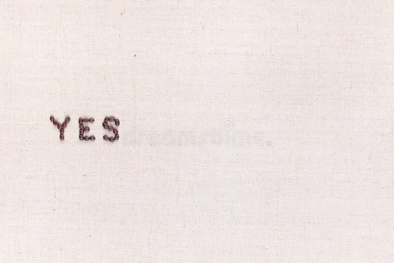 词是写与咖啡豆,被排列到左边 库存照片