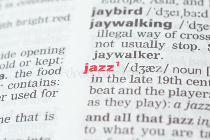 词爵士乐的定义 免版税库存图片