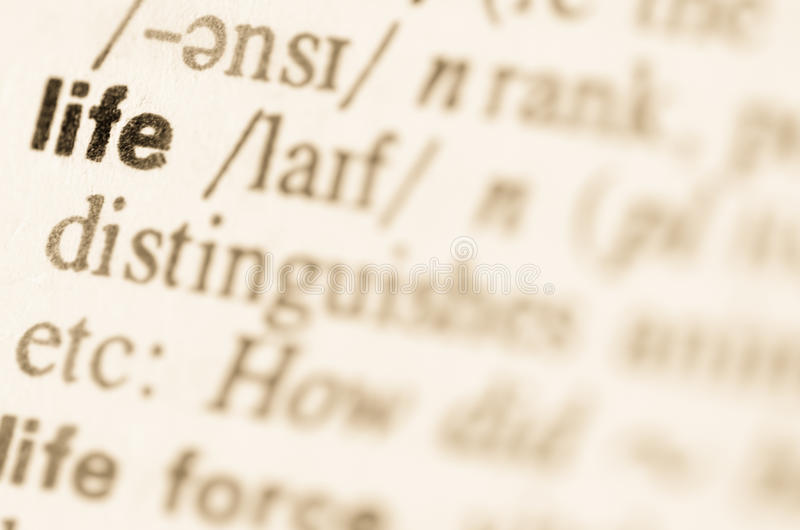 词生活的辞典定义 免版税库存照片