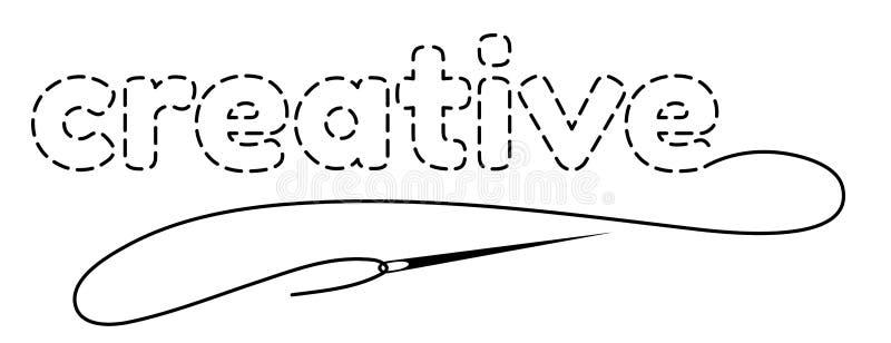 词的剪影创造性与中断等高 与刺绣螺纹和针的手工制造传染媒介例证 库存照片