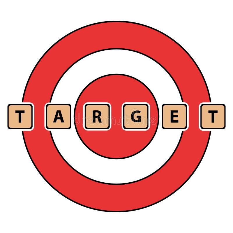 词目标拼写了与瓦片/块 在一个红色目标背景 库存例证
