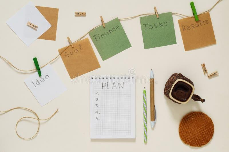 词目标,想法,任务,财务,结果,在纸贴纸的计划 库存照片