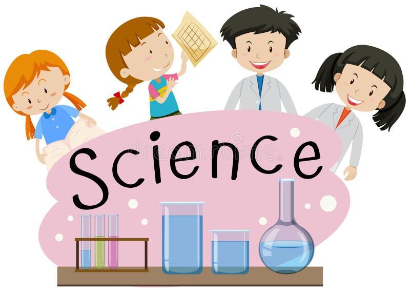 词科学的Flashcard与孩子在实验室 库存例证