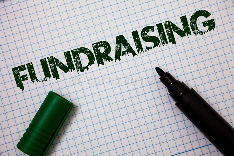 词筹款文字的文本 寻找的企业概念财政支持慈善原因或企业想法消息gr 图库摄影