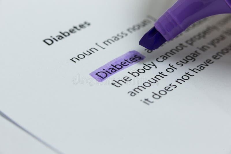 词糖尿病在与毡尖笔的紫罗兰突出了 免版税库存图片