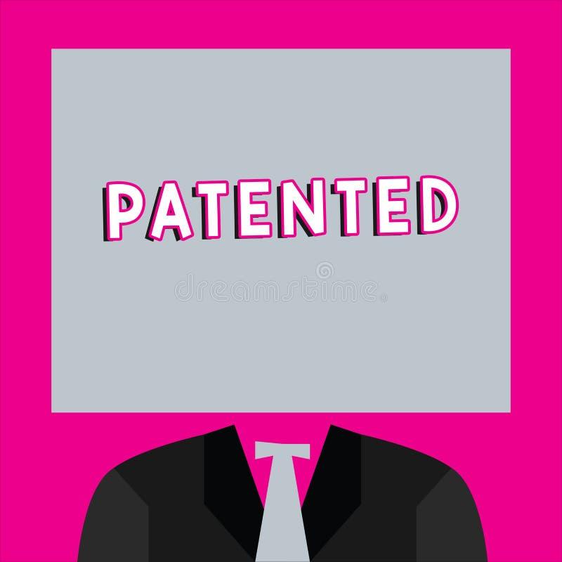 词给予专利的文字文本 发明或过程的企业概念保护了商谈正确的正式文件 向量例证