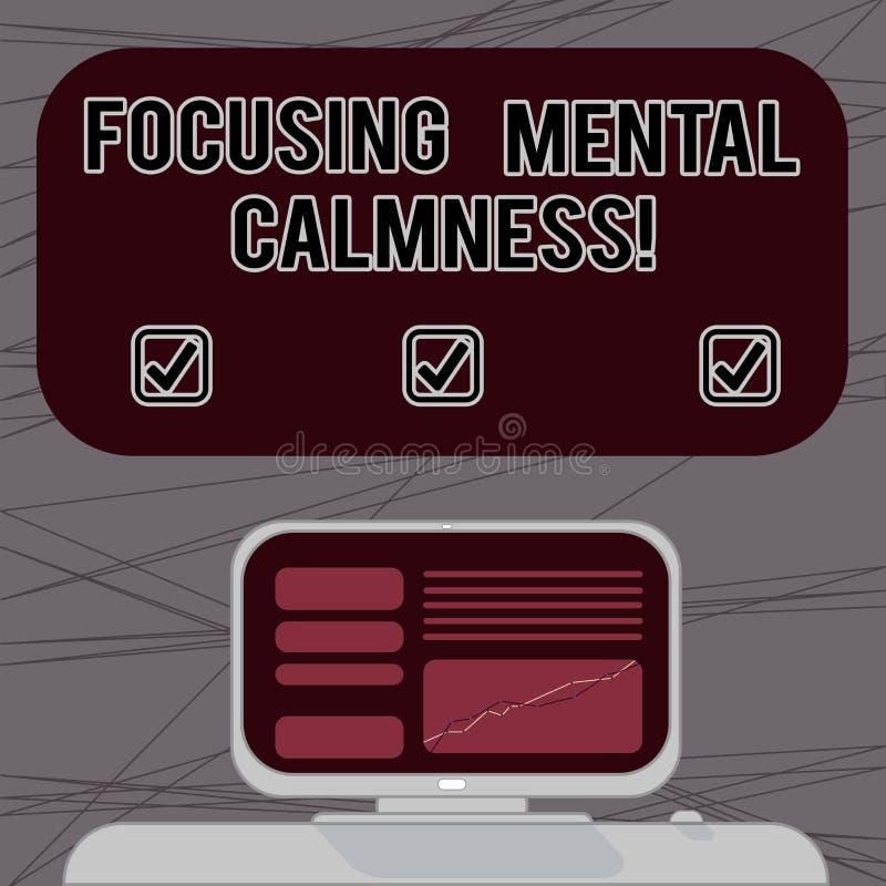 词聚焦精神平静的文字文本 任意头脑的企业概念从鼓动或任何干扰登上的计算机 向量例证