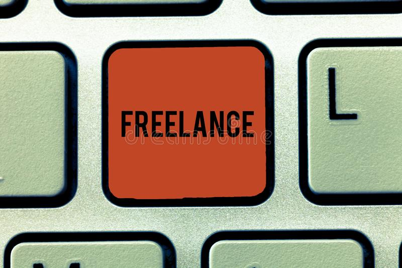 词自由职业者文字的文本 自己经营的企业概念被聘用工作为在任务的不同的公司 库存例证