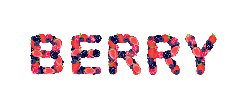 词莓果写了用莓果 免版税图库摄影