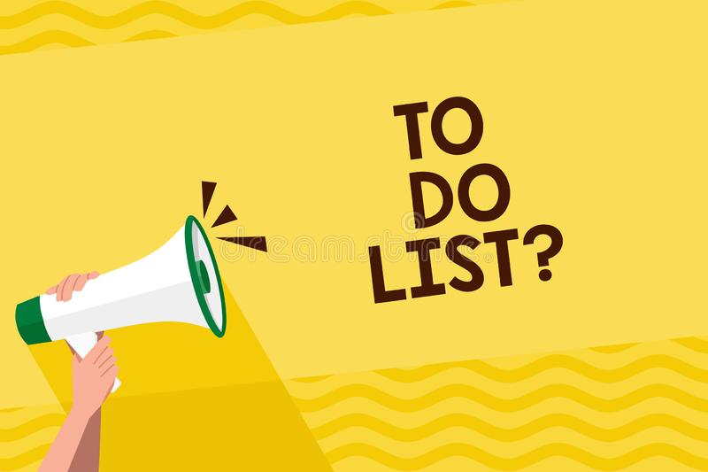 词要做名单问题的文字文本 按顺序优先权人需要完成组织的任务的企业概念 库存例证