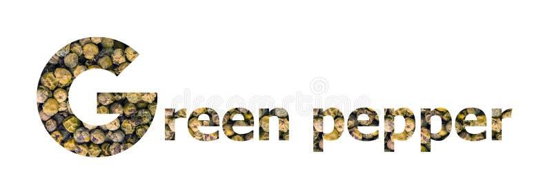 词青椒用在白色隔绝的干绿色干胡椒 库存图片