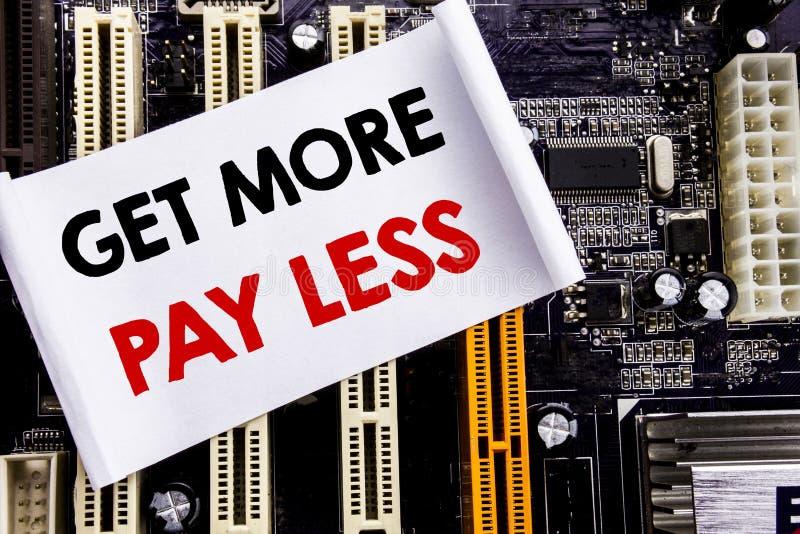 词,写得到更多薪水较少 预算在稠粘的笔记写的口号概念的企业概念,计算机主板背景 图库摄影