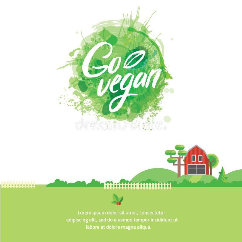 词去简单和逗人喜爱的框架的素食主义者与绿色分支和叶子 向量化水彩图画 向量例证