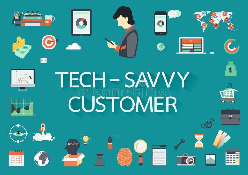 词TECH -有包含的平的象的精明的顾客 向量例证