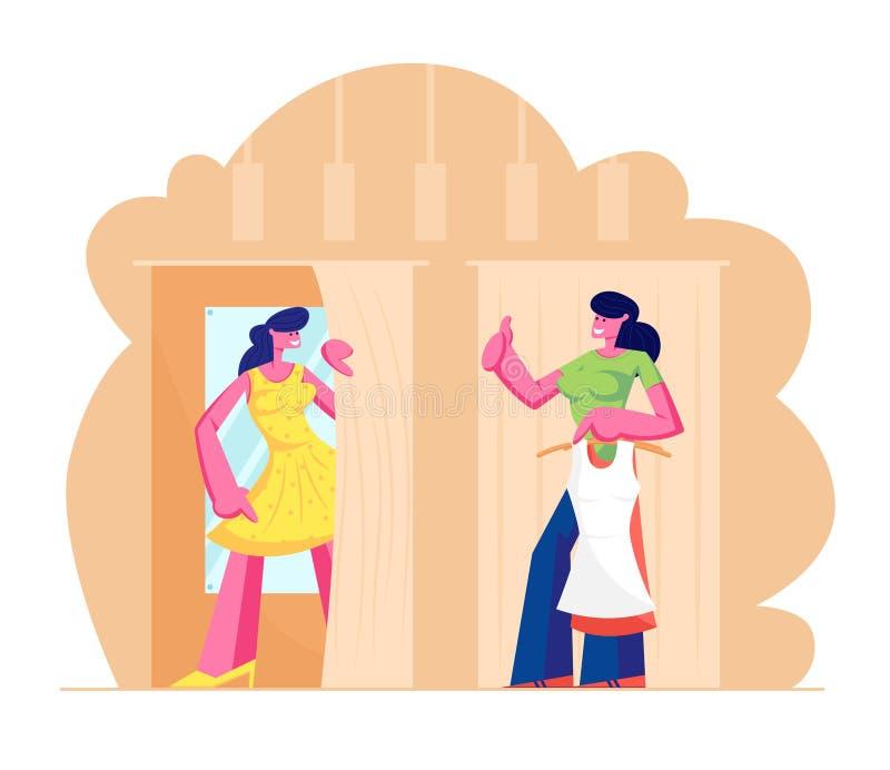 试穿的年轻女人在化装室关闭在商店,销售妇女辅助展示赞许 新的礼服立场的女孩在客舱 向量例证