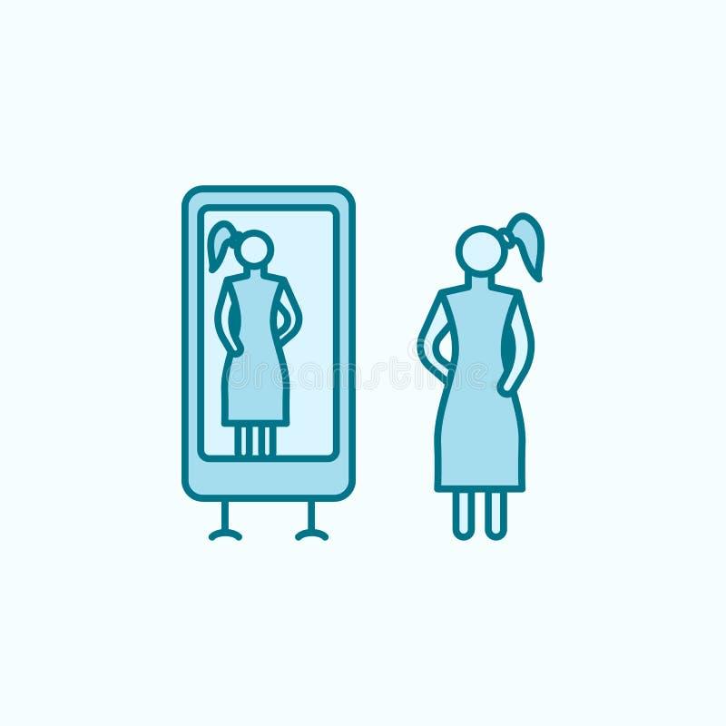 试穿礼服2种族分界线象 简单的色素例证 试穿从购物中心的一个礼服概述标志设计 库存例证