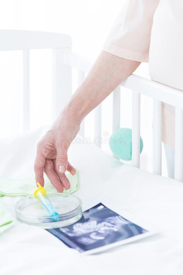 试管和胎儿照片 免版税库存图片