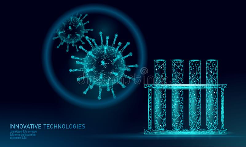 试管病毒3D低多回报 实验室分析传染慢性疾病肝炎病毒流行性感冒流感传染 向量例证