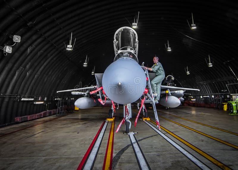 试验检查他的F15喷气式歼击机 免版税库存图片