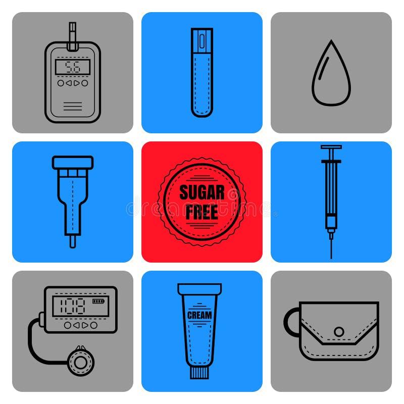 试验片,血液、注射器和葡萄糖米 糖尿病 医疗设备平的象和对象  向量例证