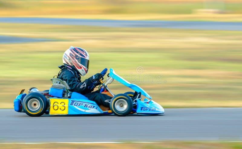 试验竞争在国家Karting冠军 免版税库存图片