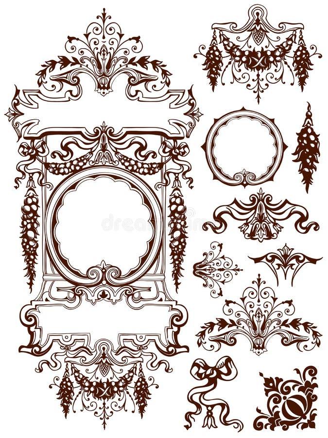诗歌选和赃物装饰品设计元素 库存例证