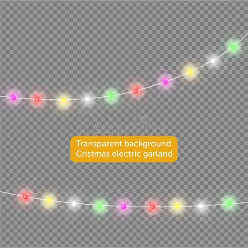 诗歌选,圣诞节装饰光线影响 被隔绝的传染媒介设计元素 发光为Xmas假日贺卡des点燃 向量例证